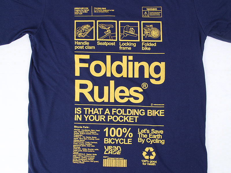 URBNCASE_folding bike rules dahon tshirt_front_detail